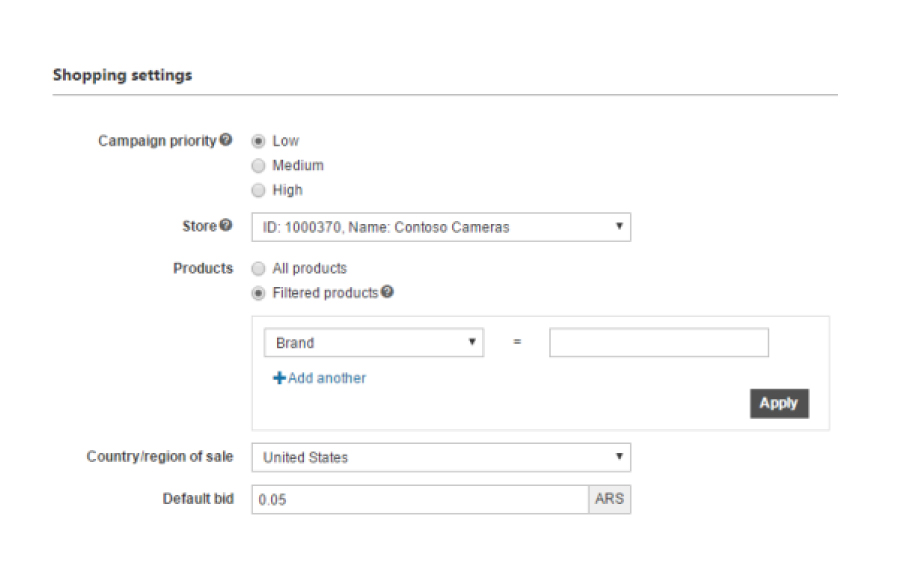 04 - Image of a Bing Shopping campaign settings